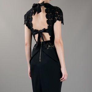 Roland Mouret black lace tie back cocktail dress